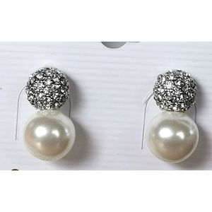 NWT Pearl and pave Crystal stud earrings